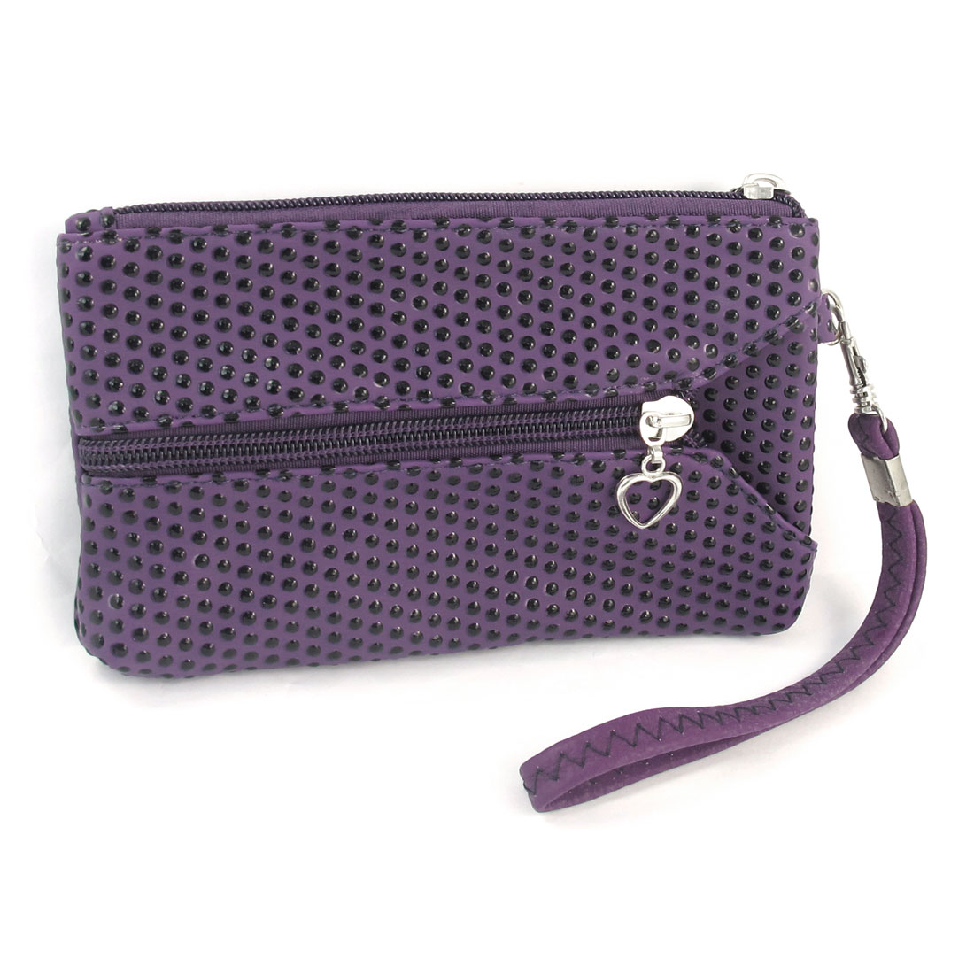 Lady Rectangle Faux Leather Dots Pattern Zip Up Cash Holder Wallet Purse Purple