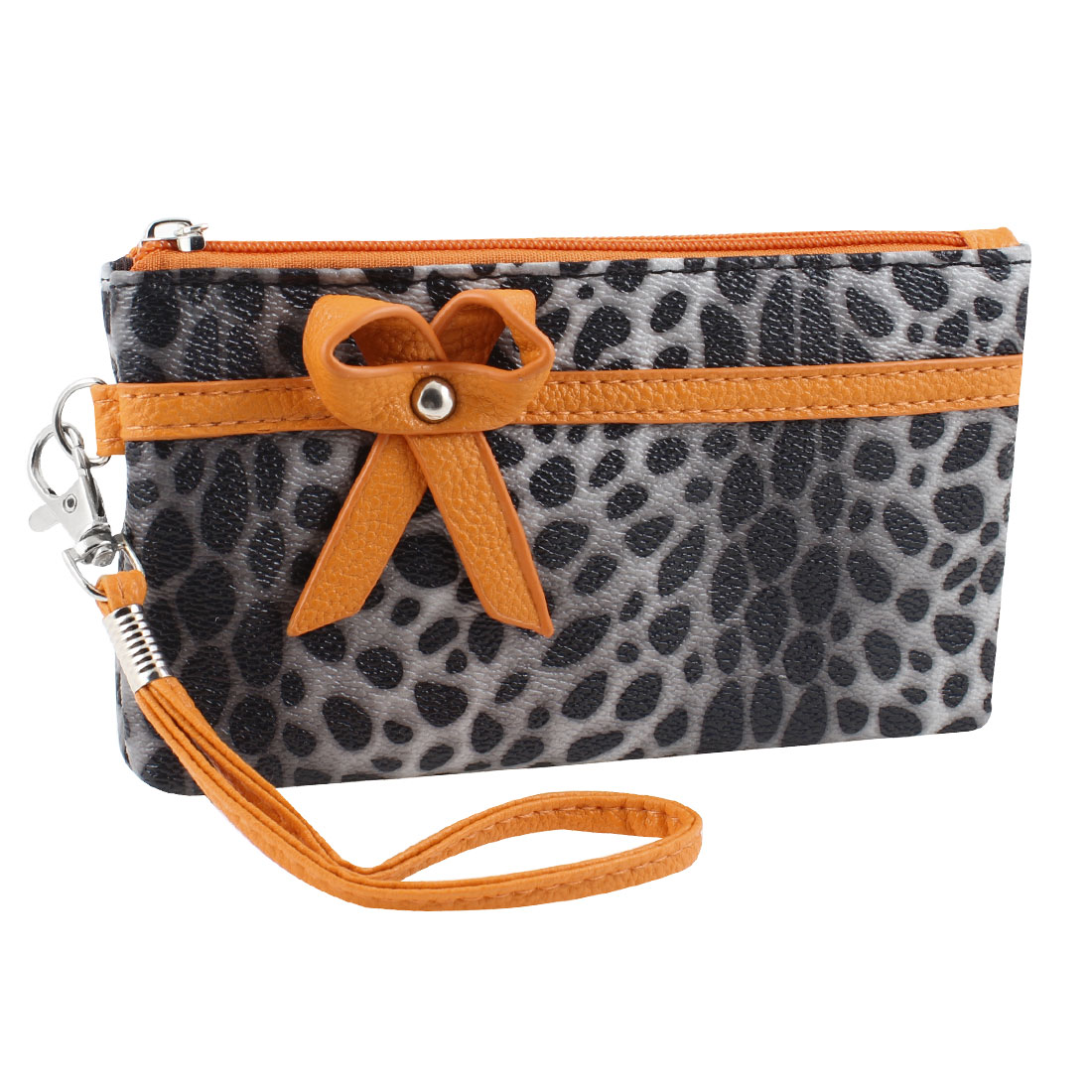 Women Bowknot Detail Leopard Pattern Faux Leather Zip Up Gray Purse Wallet Bag