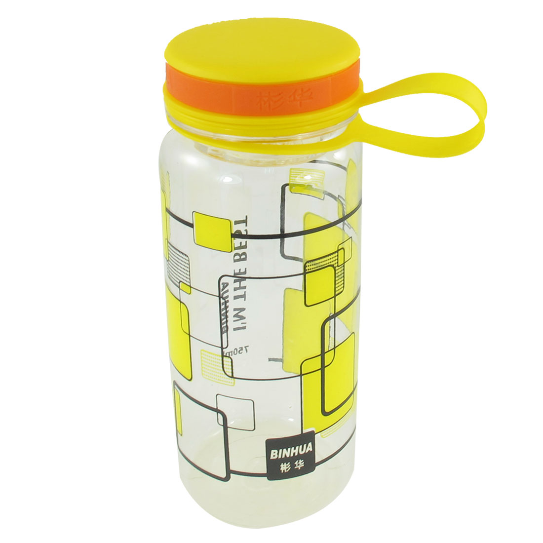 Portable Cylindric Shape Grid Pattern Yellow Clear Plastic Water Bottle 750ml