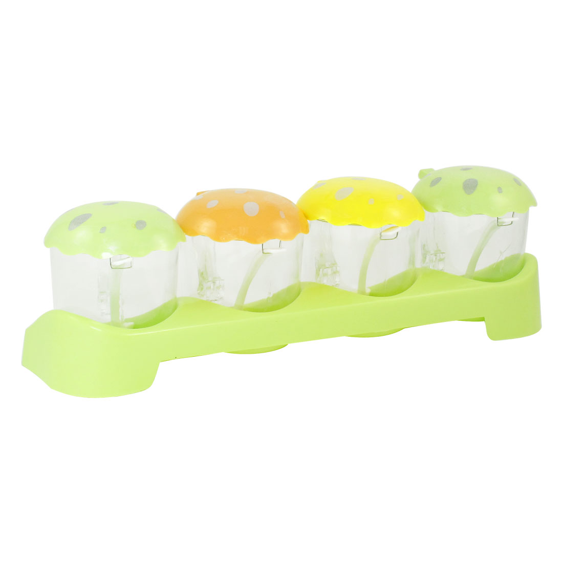 Green Base Plastic Mug 4 in 1 Spices Sugar Condiment Container Box Case Holder