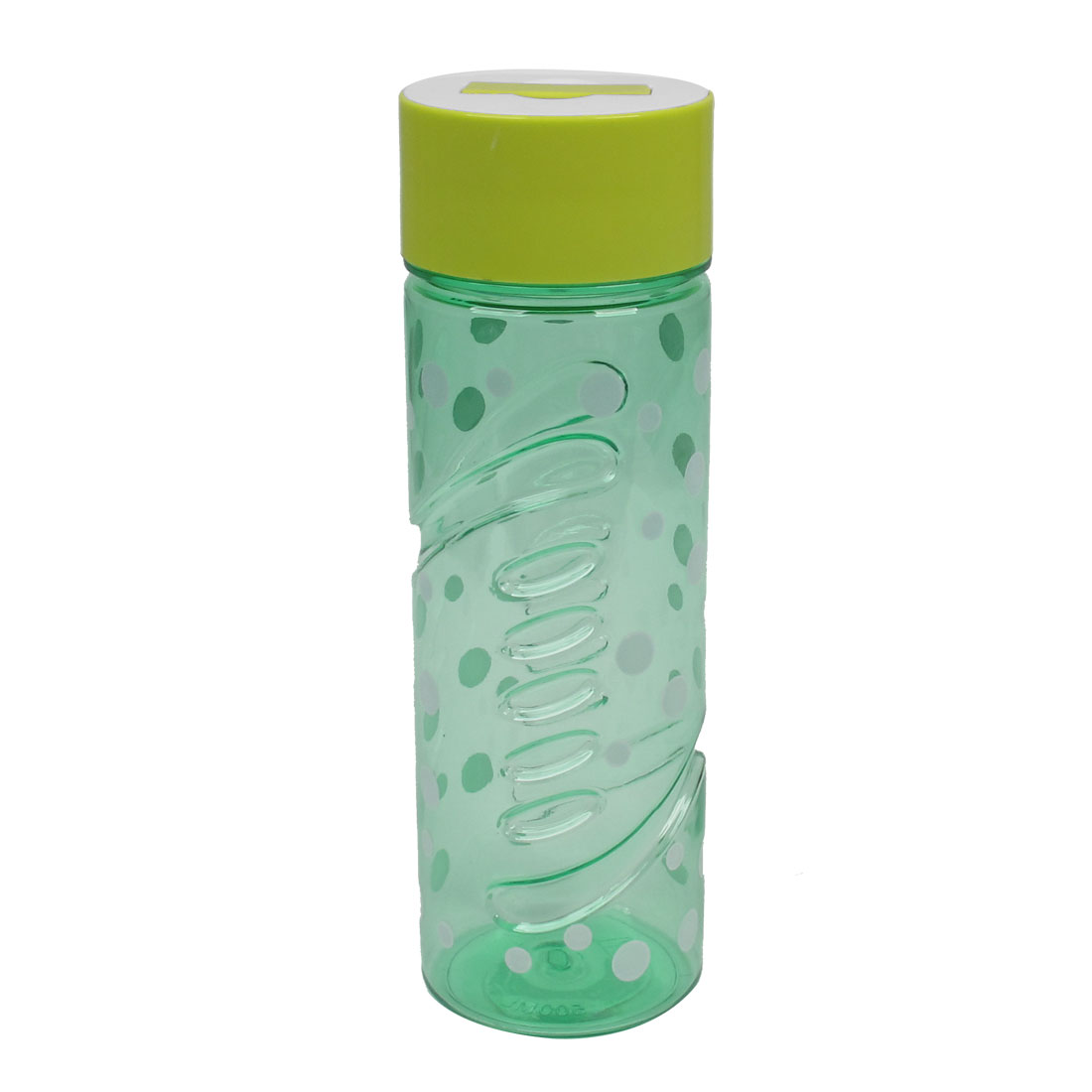 Green White Cap Dots Pattern Plastic Clear Tea Water Bottle Cup 500ml