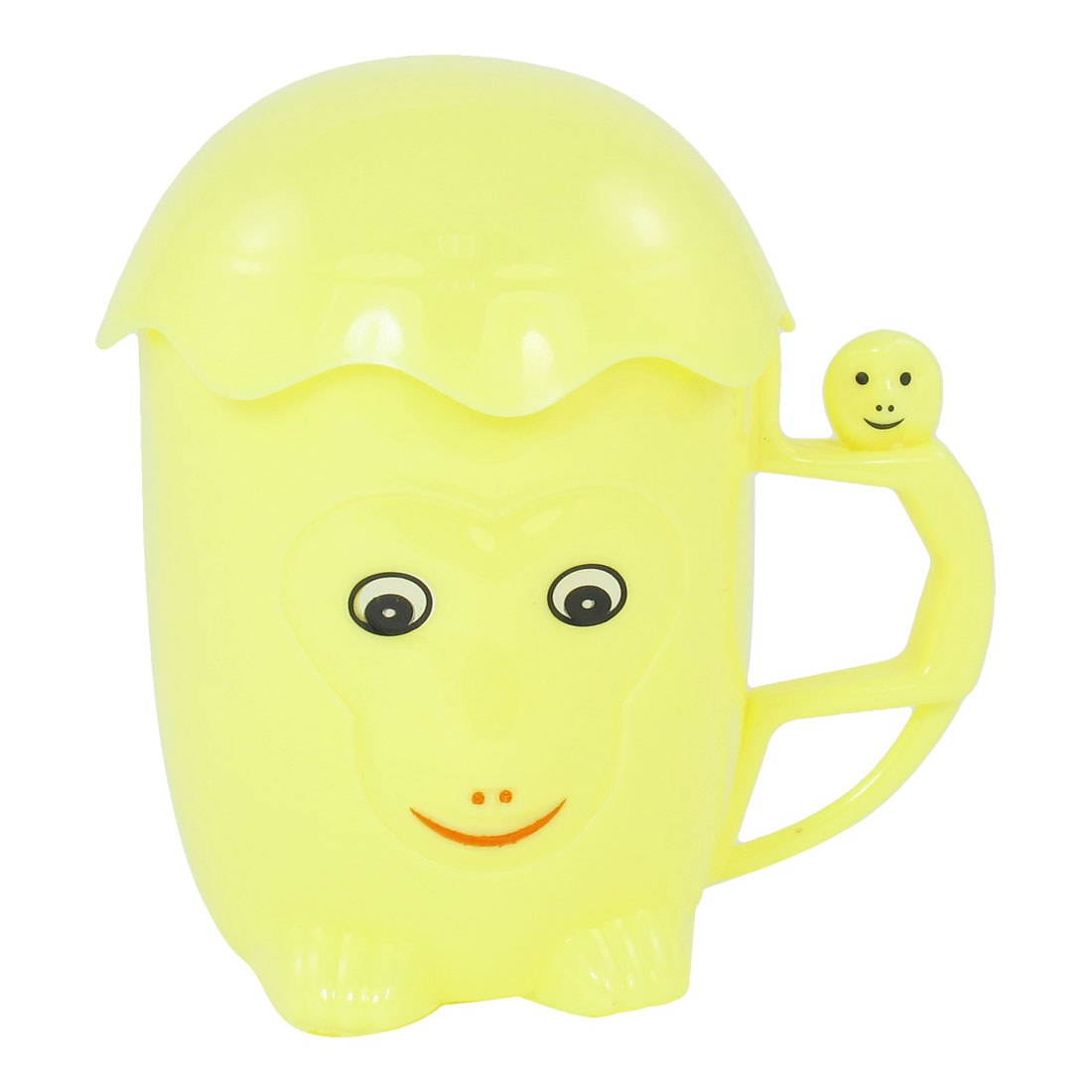 Home Office Cartoon Monkey Style Plastic Drink Mug Cup Yellow