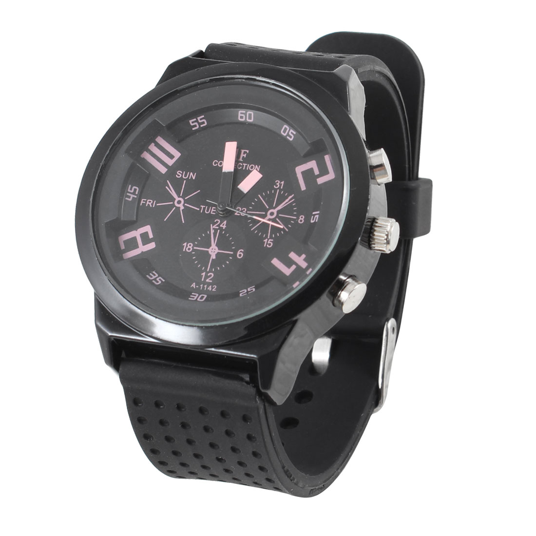 Men Stainless Steel Round Design Case Black Dotted Silicone Band Sport Watch