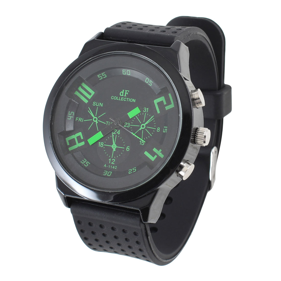 Week Hour Display Green Pointer Round Case Black Dial Sport Wristwatch for Man