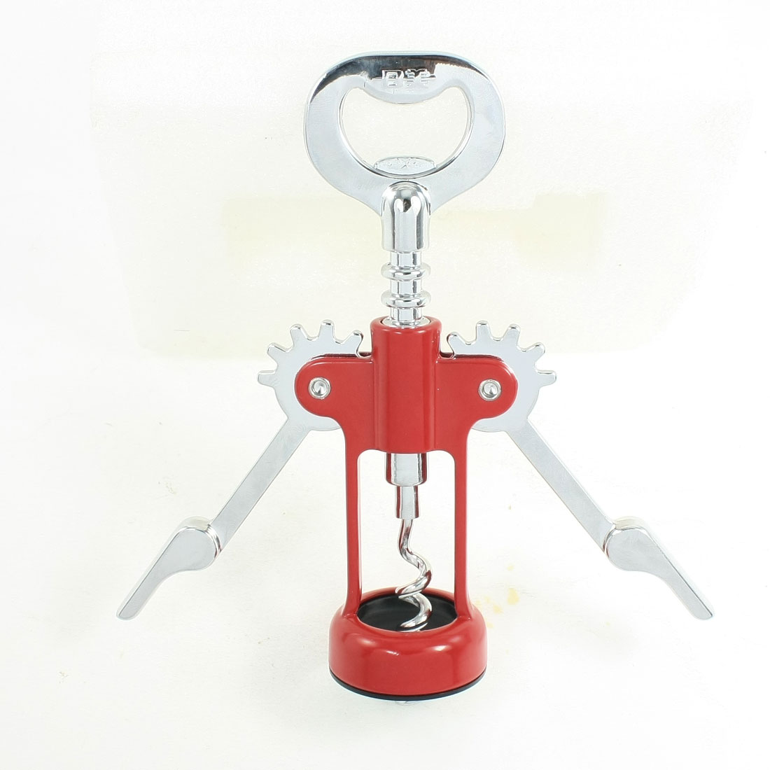 Silver Tone Red Wine Cork Rotatory Puller Corkscrew Bottle Opener
