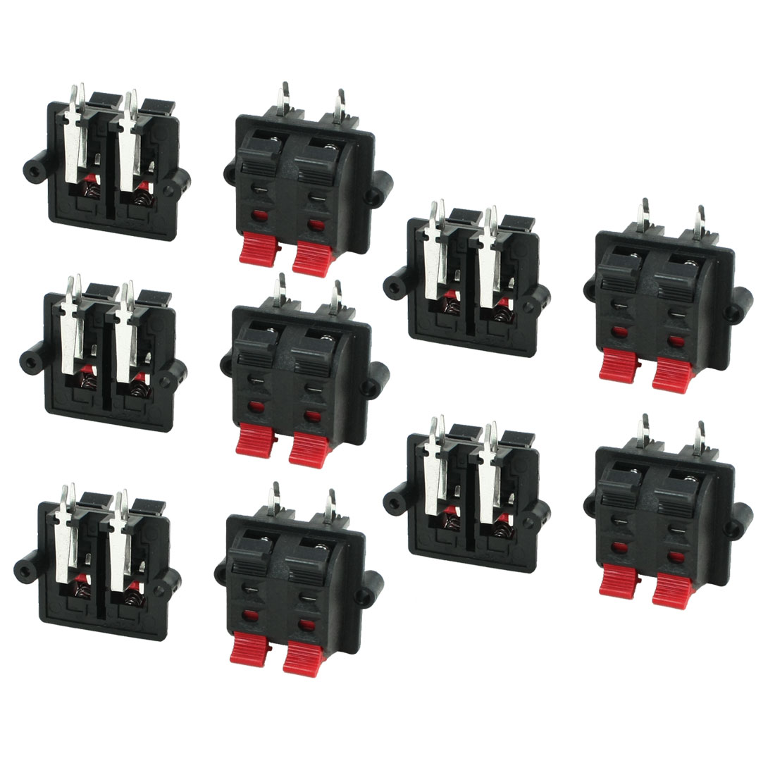 Double Row 2 Black 2 Red 4 Positions Speaker Terminal Plate 4P 10 Pcs