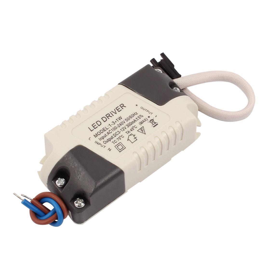 AC 85-265V DC -4V 300mA 1x3W LED Driver Power Supply Transformer Converter