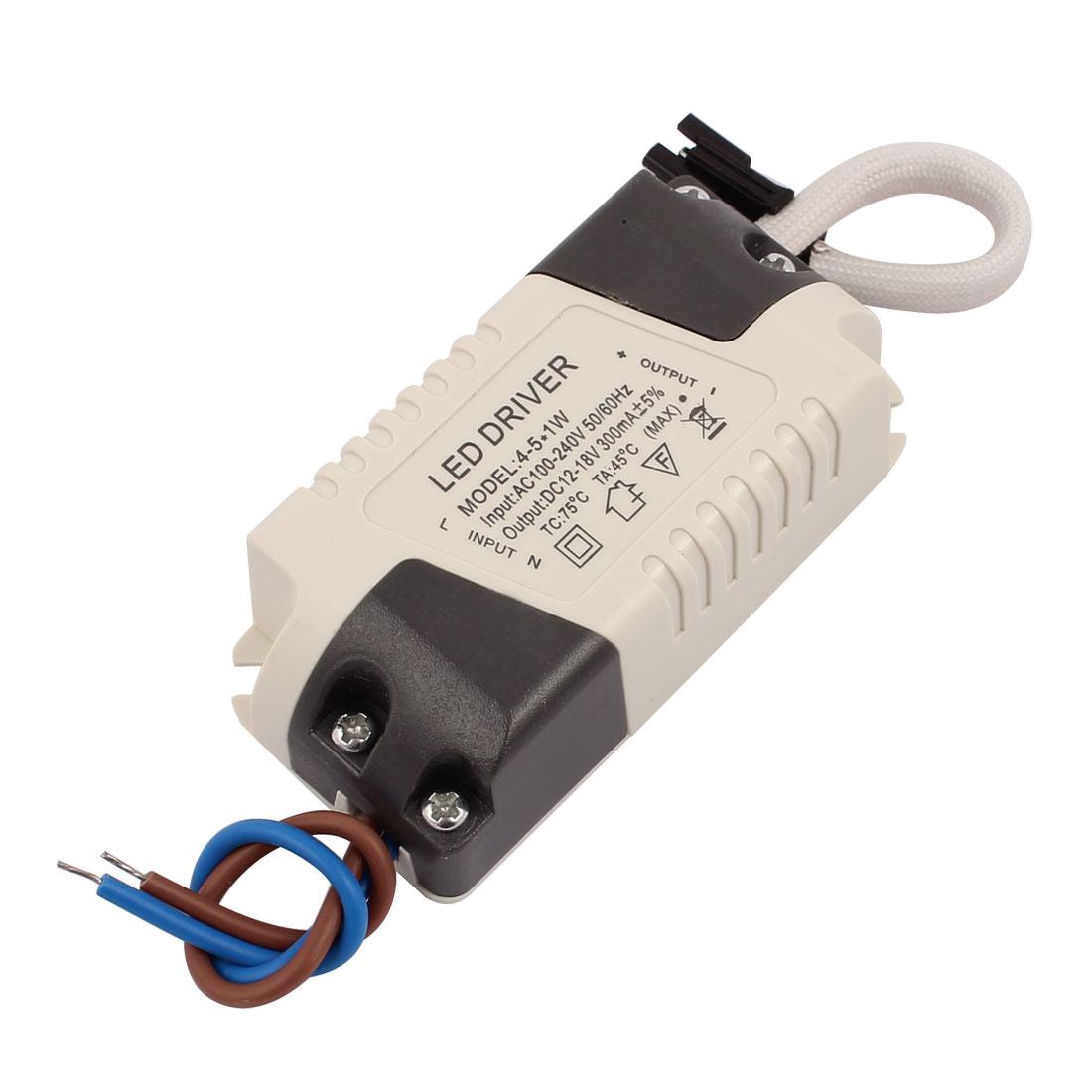Power Supply Driver Adapter AC 100-240V to DC 12-18V for 4-5W LED Lightstripe