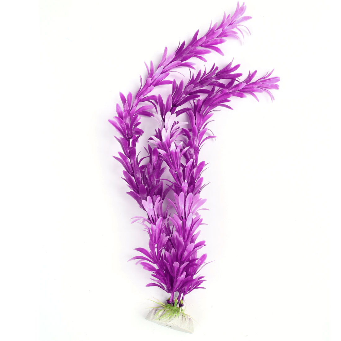 "13.8"" High Emulational Fuchsia White Plastic Grass Plant Adorn for Fish Tank"