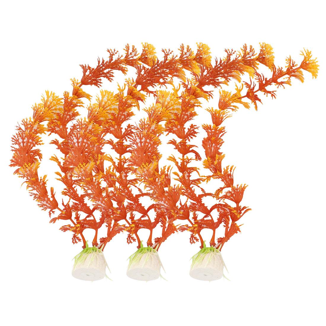 "3 Pcs Aquarium 9.8"" Height Emulational Orange Water Plants Decor w Ceramic Base"