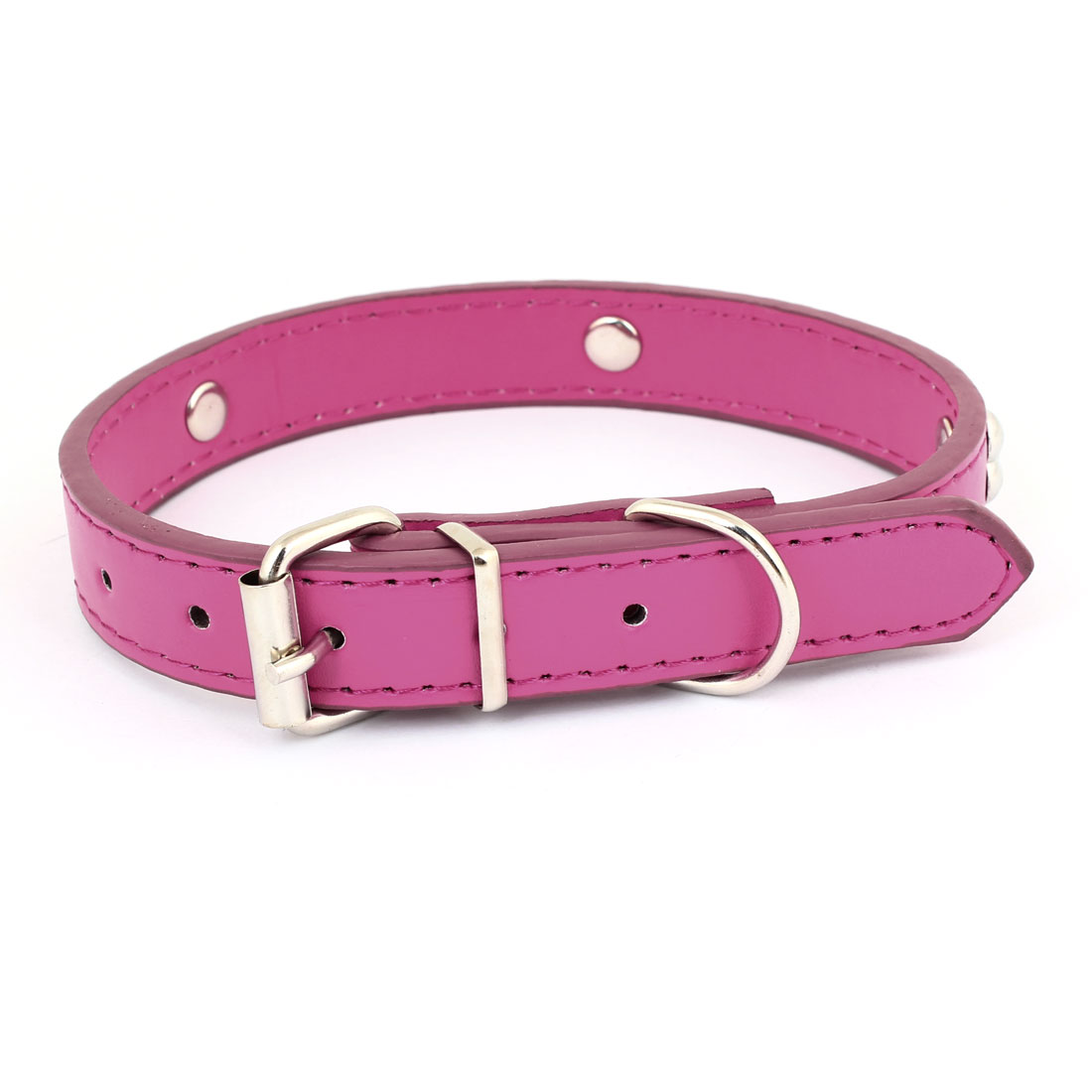 Metal Single Pin Buckle 2cm Wide Bone Detail Faux Leather Pet Dog Collar Fuchsia