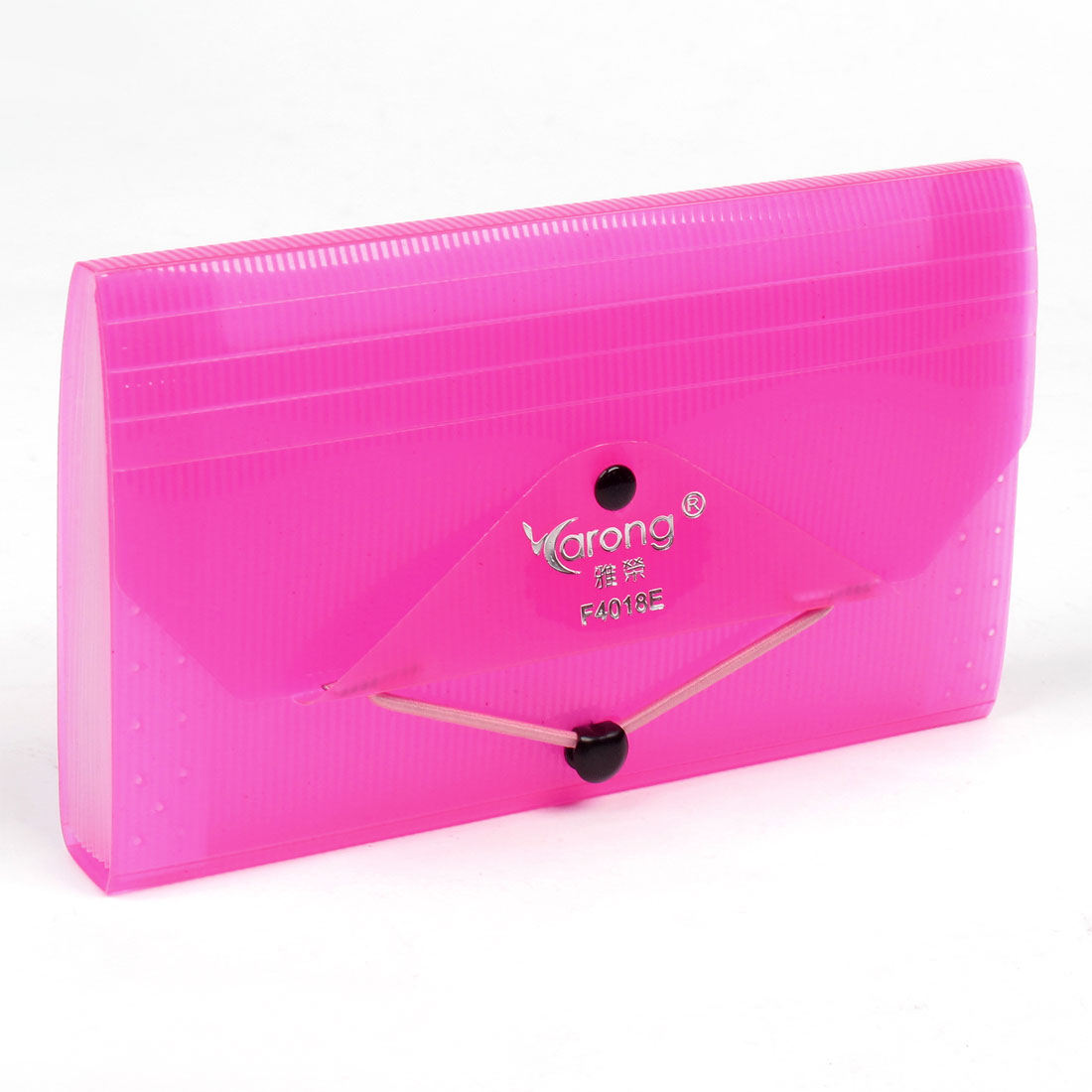 School Office Plastic 12 Compartment Elastic Closure Document File Bag Hot Pink