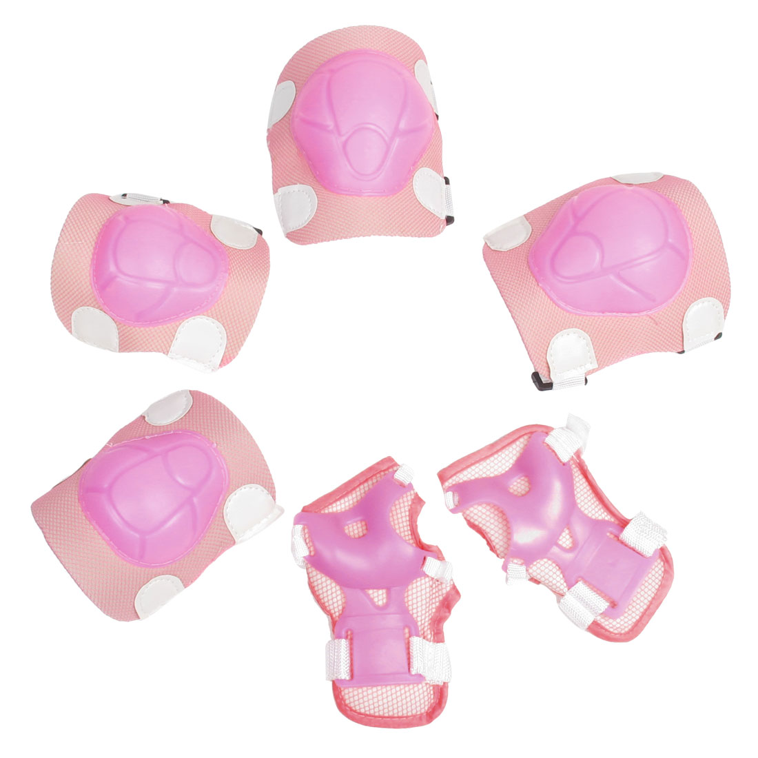 Set 6 in 1 Detachable Closure Knee Palm Elbow Guard Brace Pink White for Child