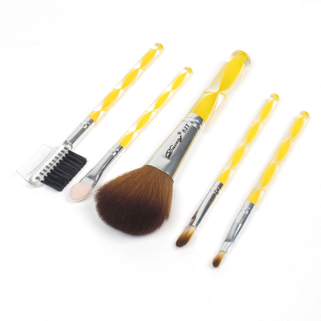 5 in 1 Round Plastic Handle Eyebrow Comb Blusher Brush Cosmetic Makeup Tool Set
