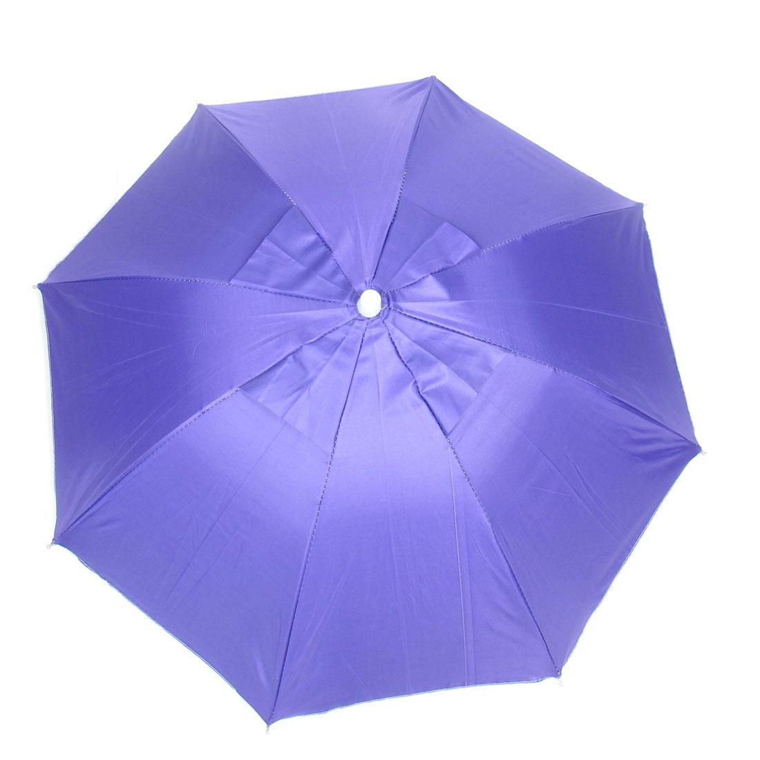 Black Elastic Headband 8 Metal Ribs Purple Umbrella Hat