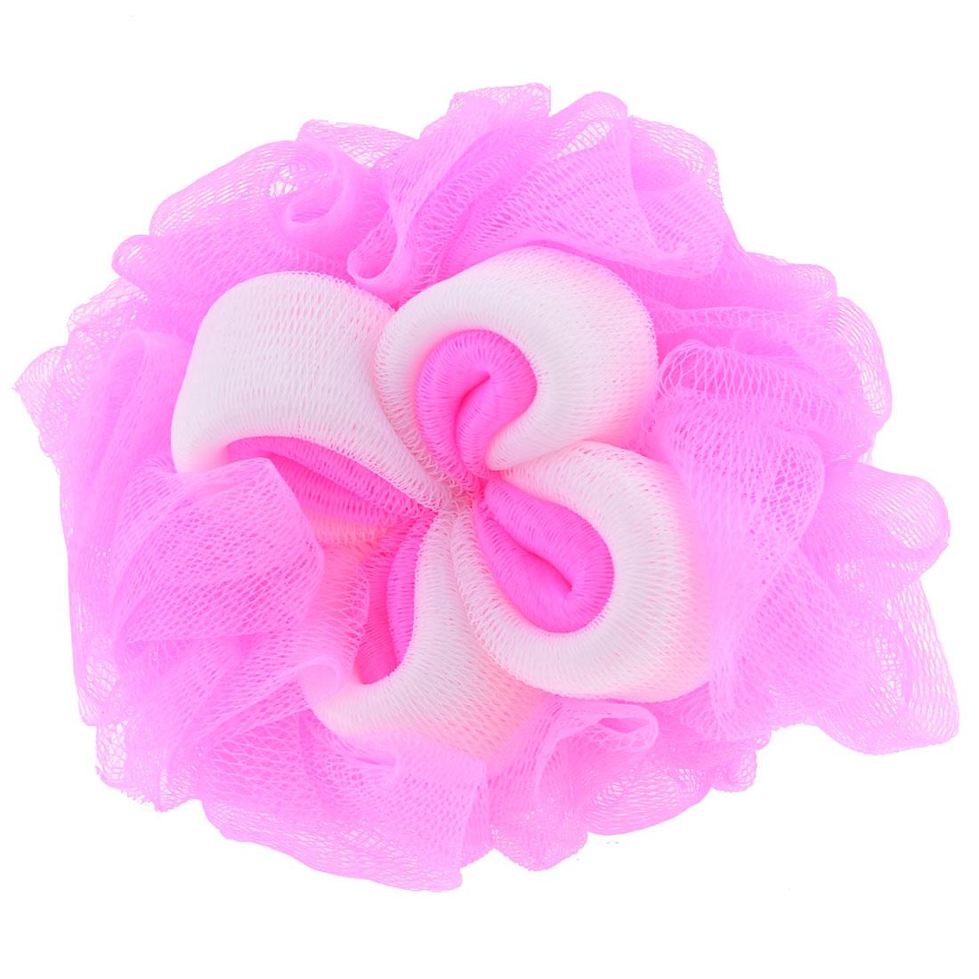 Body Wash Scrubber White Pink Meshy Bath Ball Shower Pouf