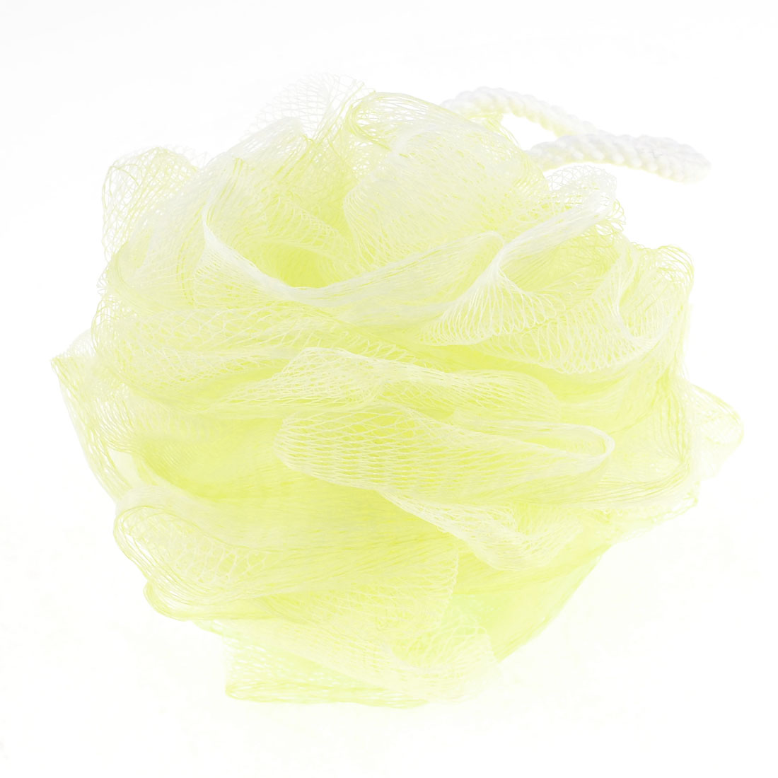 Bathroom Bubbles Puff Yellow White Meshy Nylon Bath Shower Pouf Body Scrubber