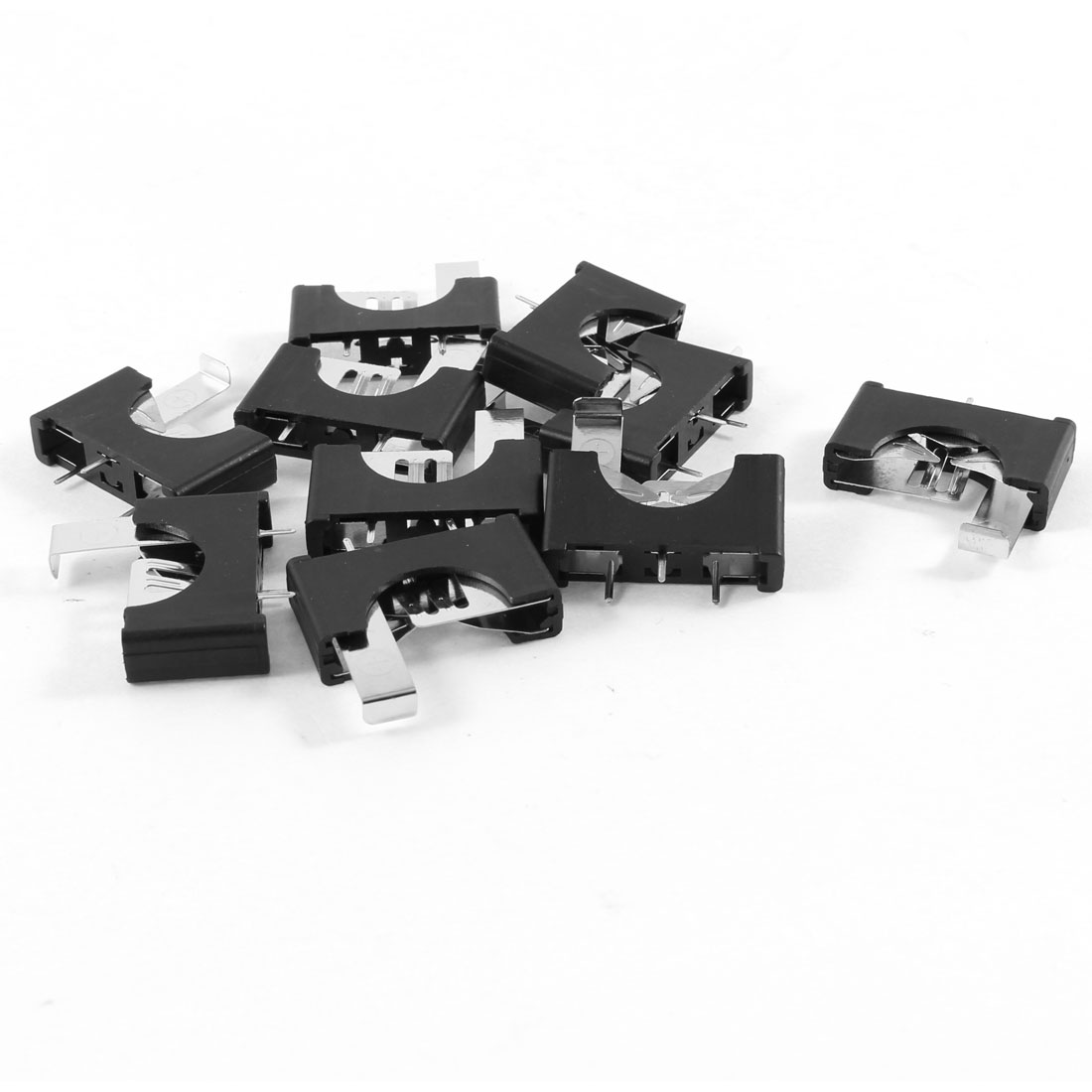 10 Pieces Black Plastic Button Coin Cell Battery Sockets Holder for CR2025