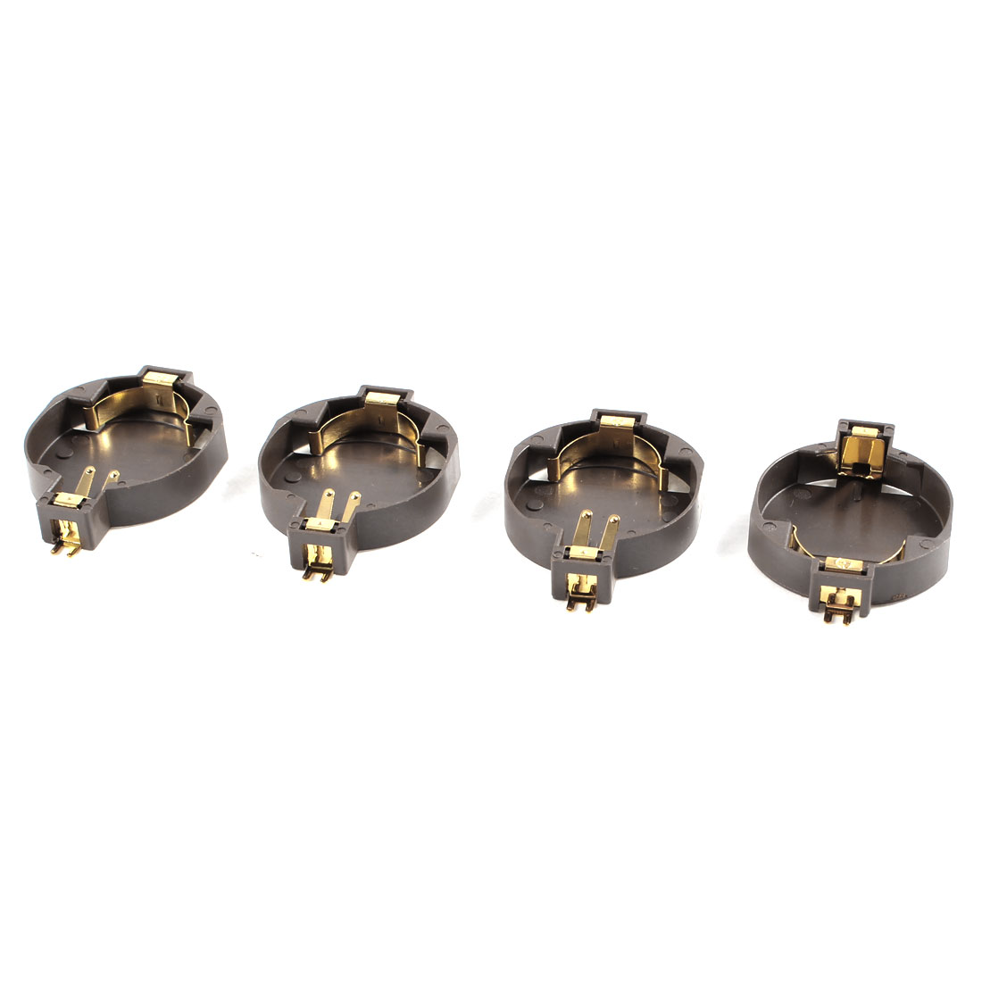 4 Pieces Brown Plastic Button Coin Cell Battery Sockets Holder for CR2032