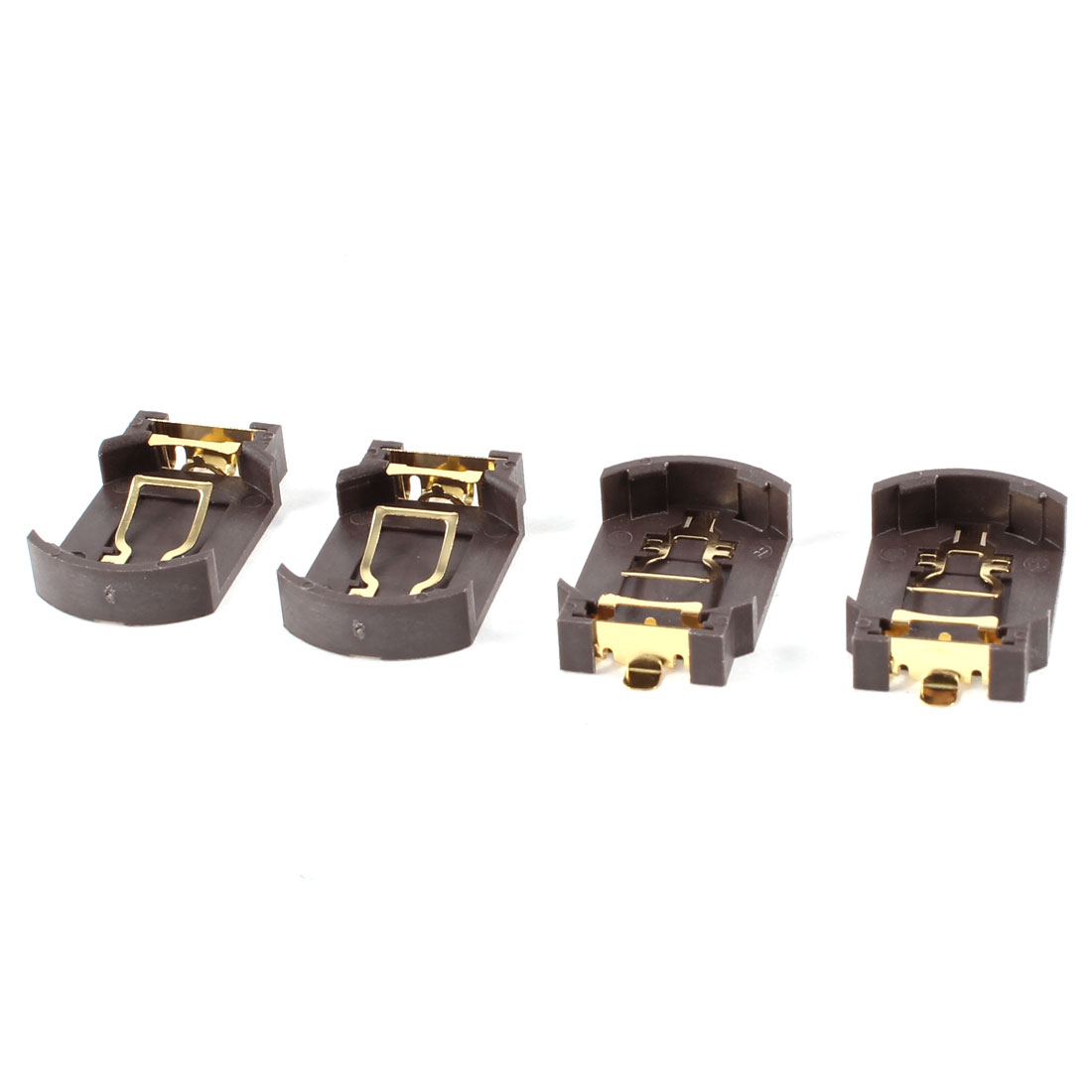4 Pcs Brown Plastic Button Coin Cell Battery Socket Holder for CR2032