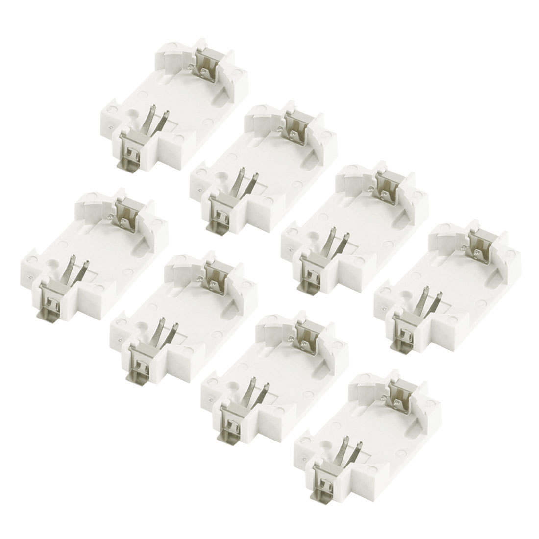 8 Pcs Off White Plastic CR2032 Cell Button Lithium Battery Socket Holder