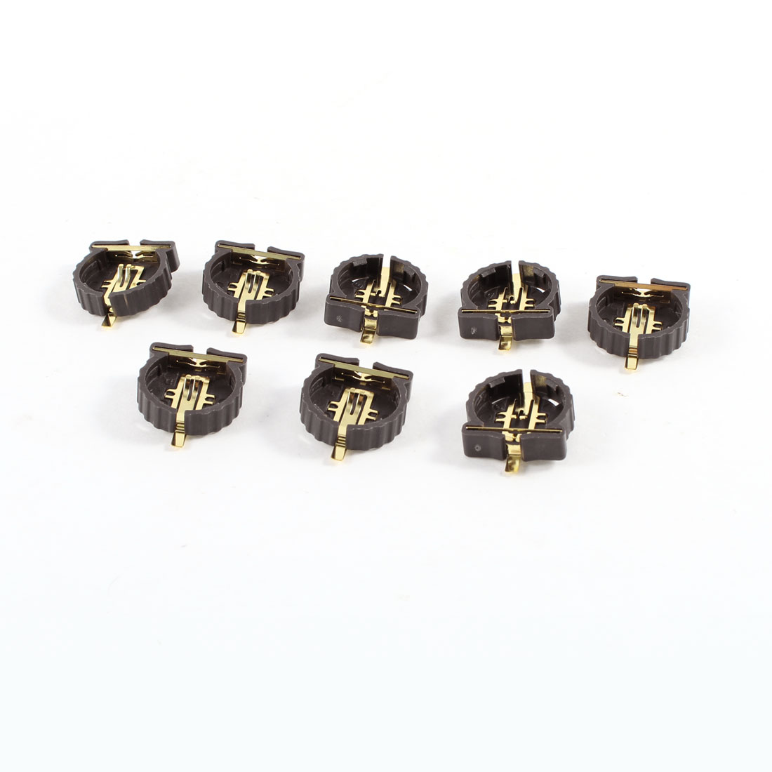 8 Pcs Brown Plastic Button Coin Cell Battery Sockets Holder for CR1220