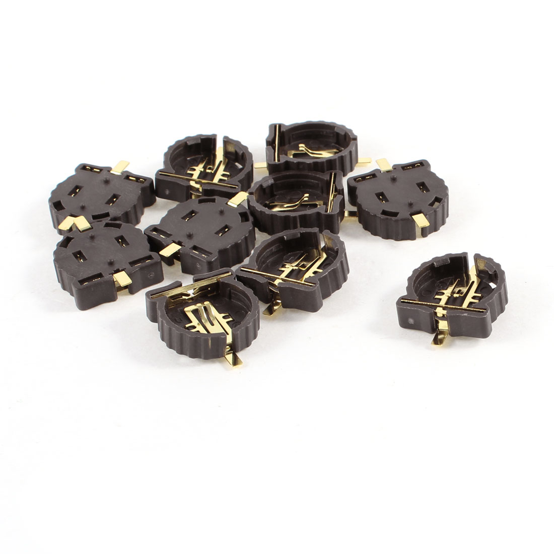 10 Pcs Brown Plastic Housing CR1220 Button Cell Battery Sockets Holder Case