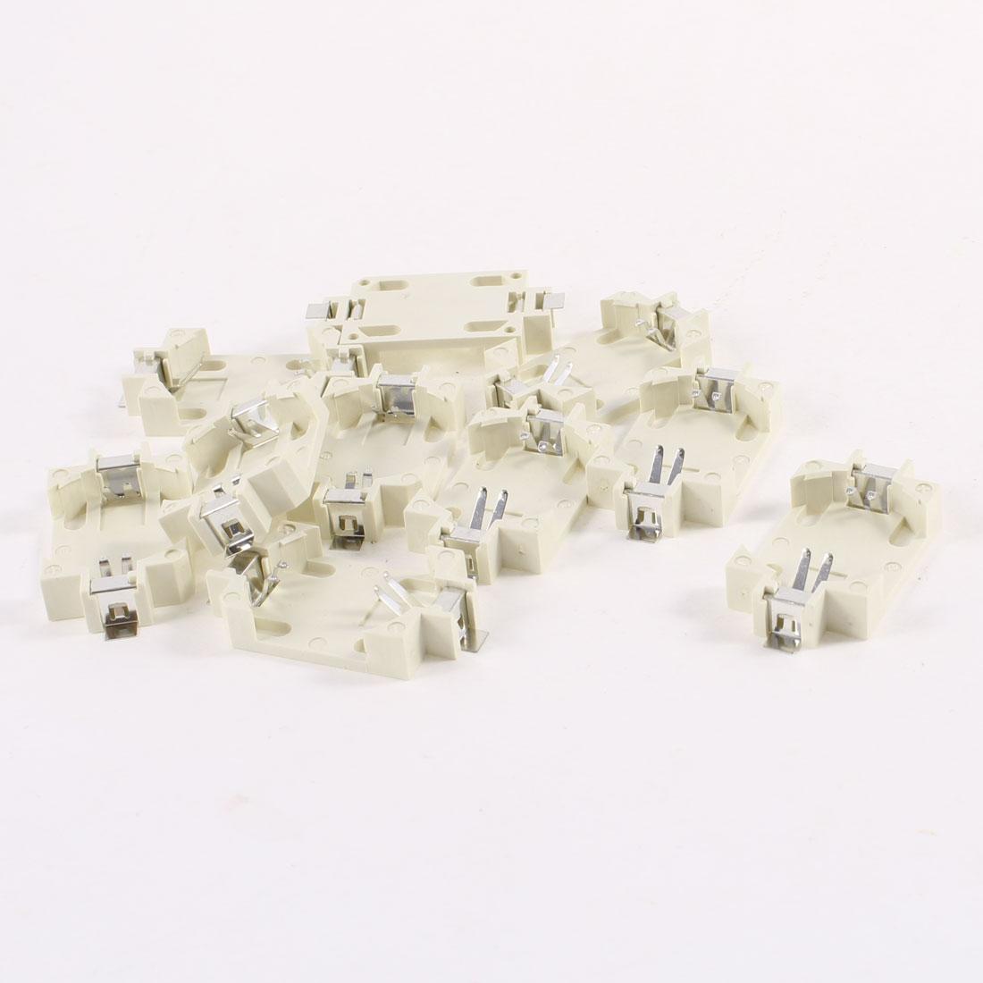 10 Pcs Plastic Shell CR2032 Button Cell Battery Socket Holder Case Off White
