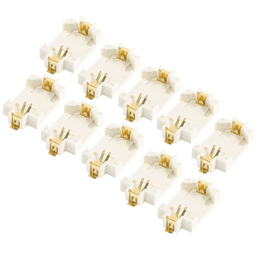 10 Pcs Off White Plastic Button Coin Cell Battery Socket Holder for CR2032