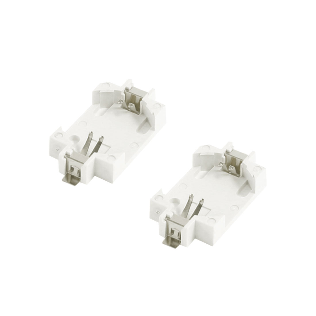 2 Pcs Off White Plastic Button Coin Cell Battery Socket Holder for CR2032