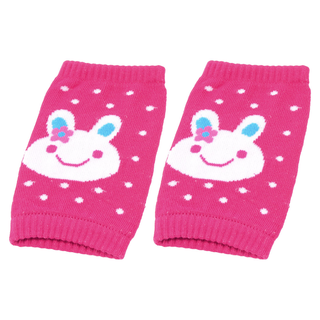 Pair Acrylic Cartoon Rabbit Printed Baby Toddler Stretchy Knee Support Fuchsia White