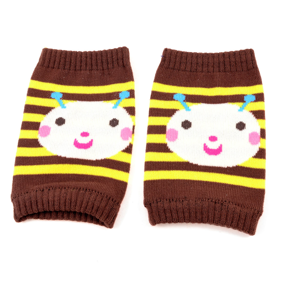 Yellow Striped Cartoon Printed Stretch Baby Toddler Knee Support Protector Pair