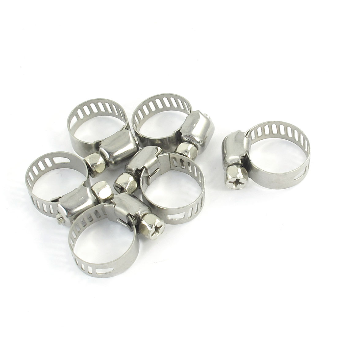 Silver Tone Metallic 9mm to 16mm Pipes Hose Clamps Clips 6 Pcs