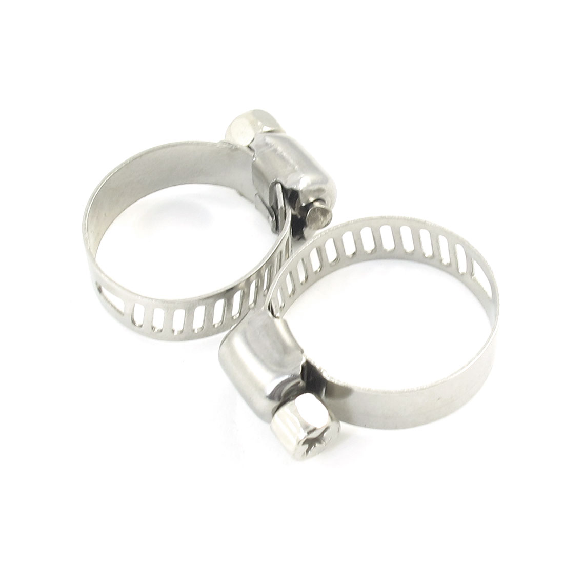 2 Pcs Adjustable 16-25mm Range Metal Worm Drive Hose Clamps Clamp