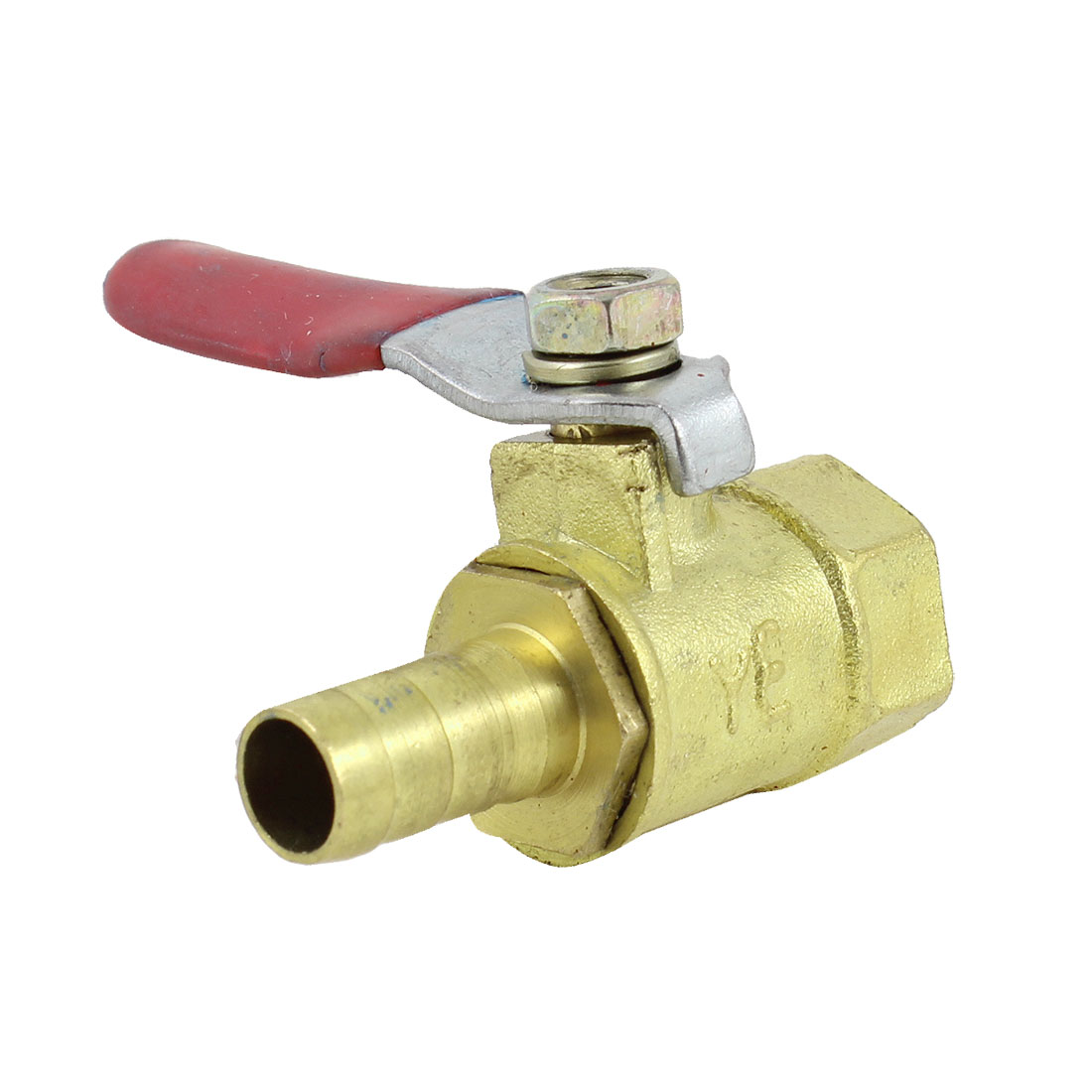 Red Lever Handle 11mm Female to 6mm Hose Tail Connector Brass Gas Ball Valve