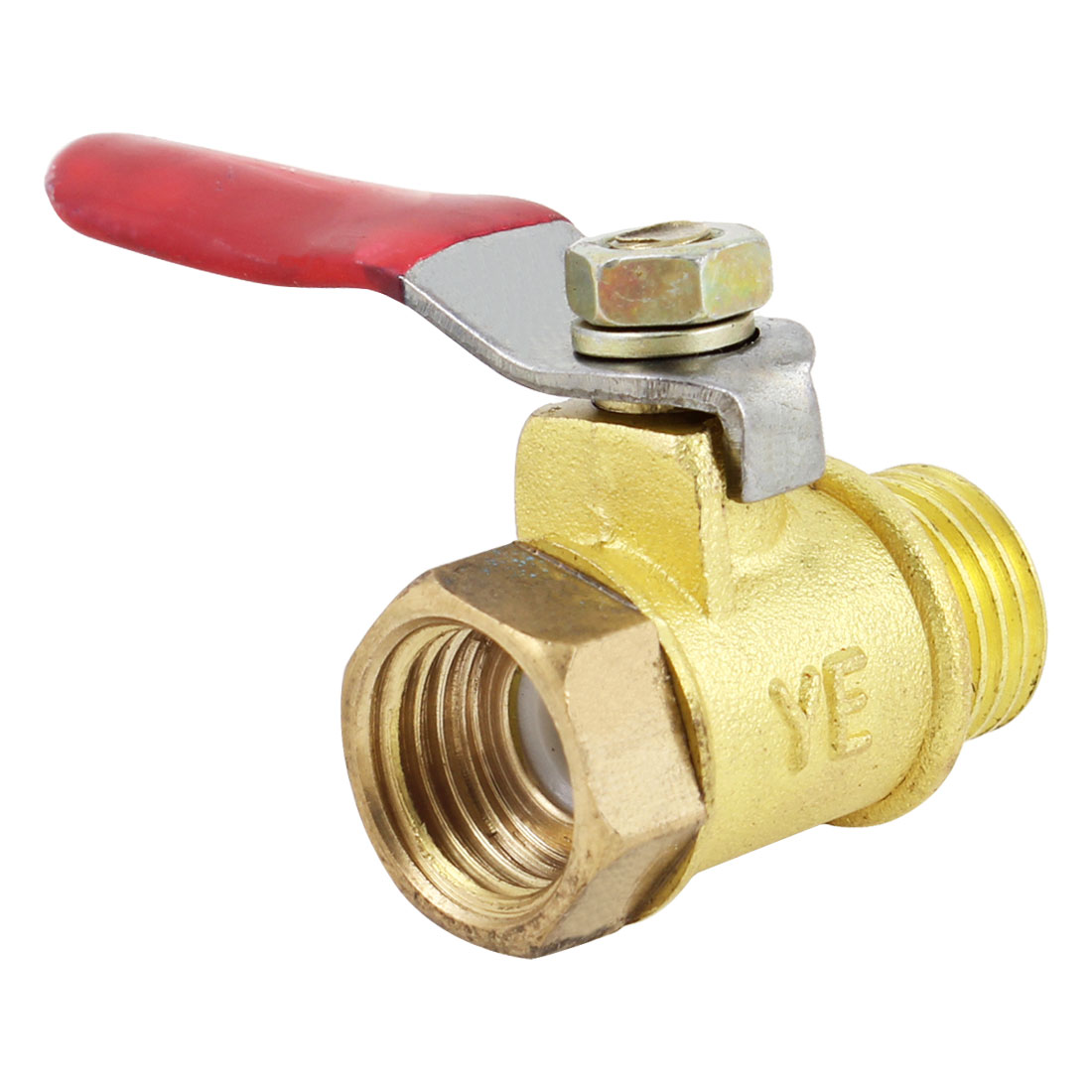Red Lever Handle 13mm Male to 11mm Female Thread Brass Gas Ball Valve