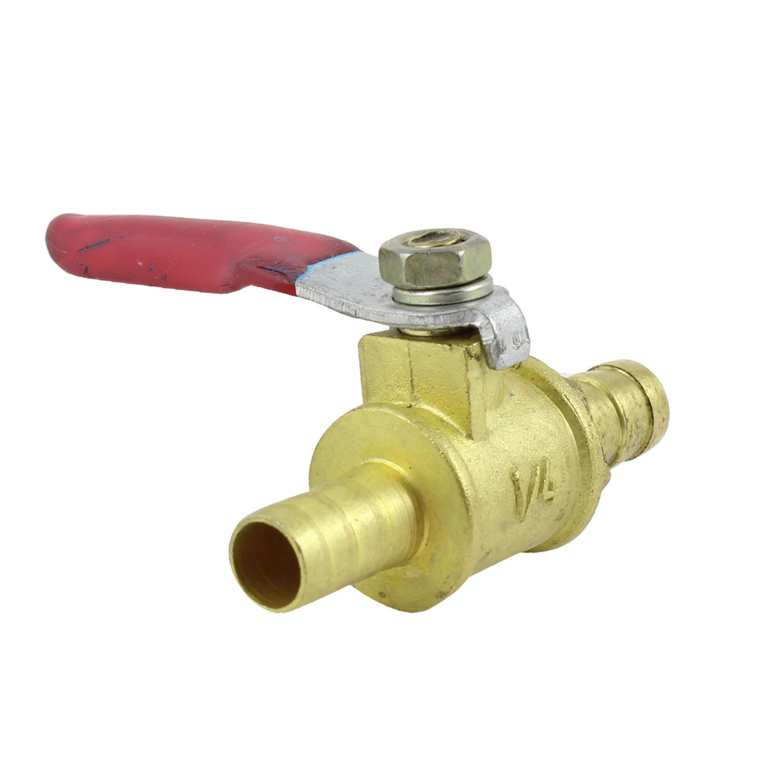 Red Lever Handle 8mm Dia Dual Hose Tail Brass Gas Ball Valve