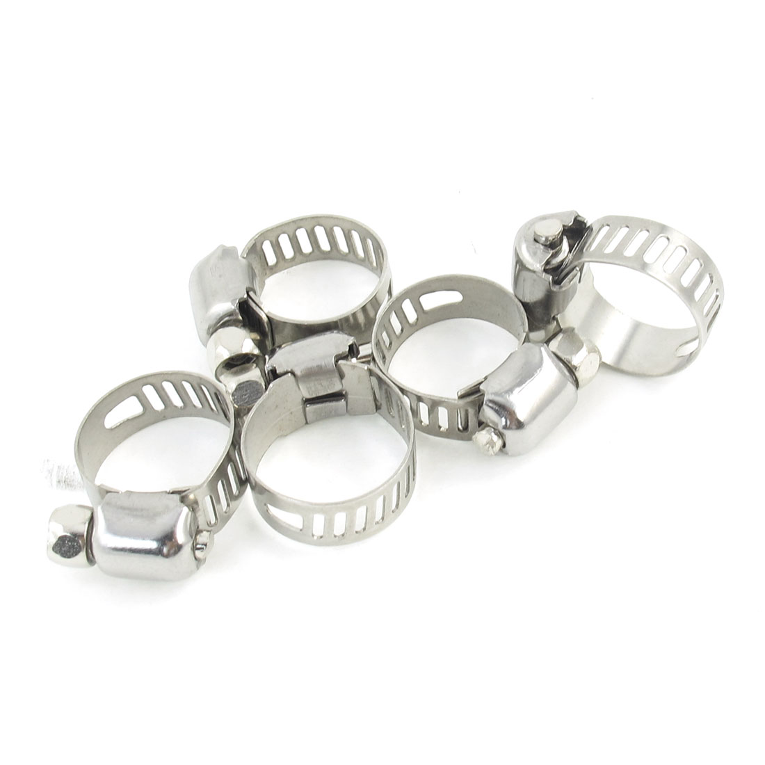 Silver Tone Metallic 9mm to 16mm Pipes Hose Clamps Clips 5 Pcs