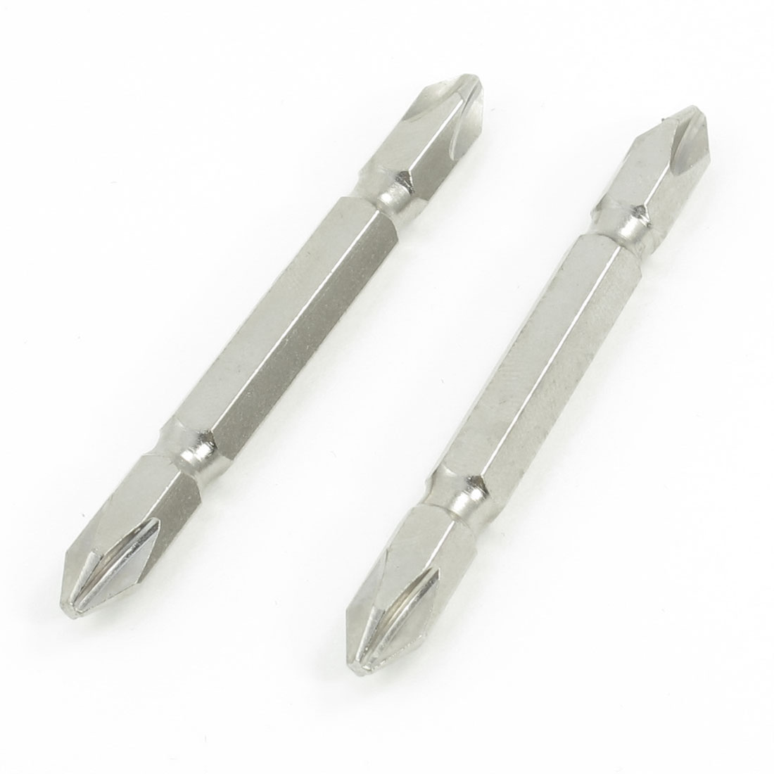 2 Pcs Silver Tone Double Ends 2.5mm Magnetic Tip PH2 Screwdriver Bits