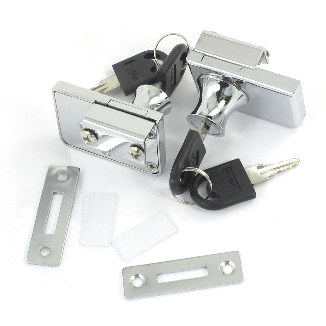 2 Pcs Silver Tone Metal Desk Drawer Cupboard Locking Lock w Keys