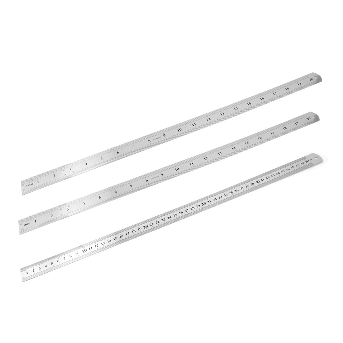 "3 Pcs Double Sides Stainless Steel Metric 50cm 20"" Scale Straight Rulers"
