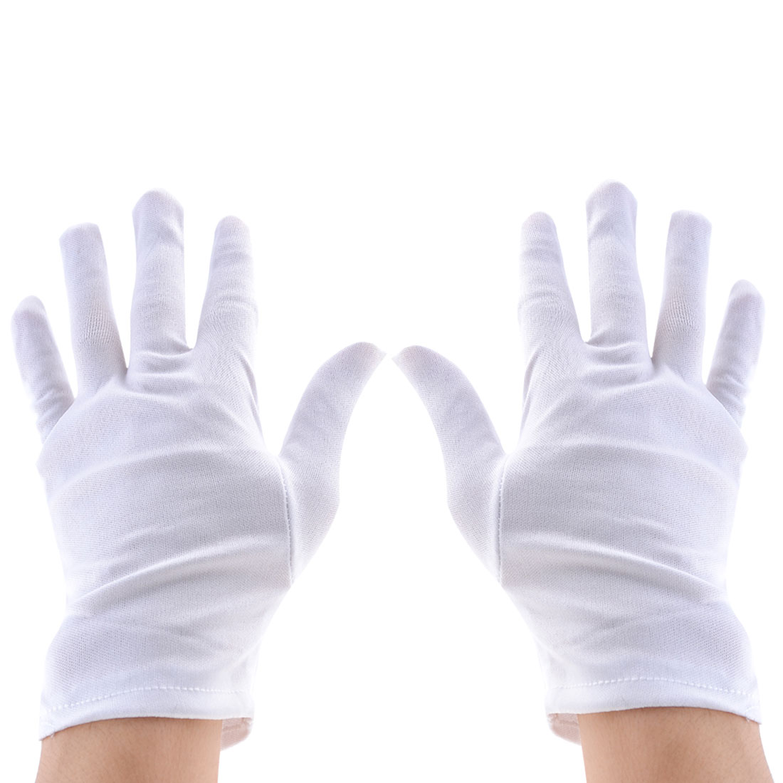 2 Pairs White Anti-static Full Finger Jewelry Watch Inspection Work Gloves