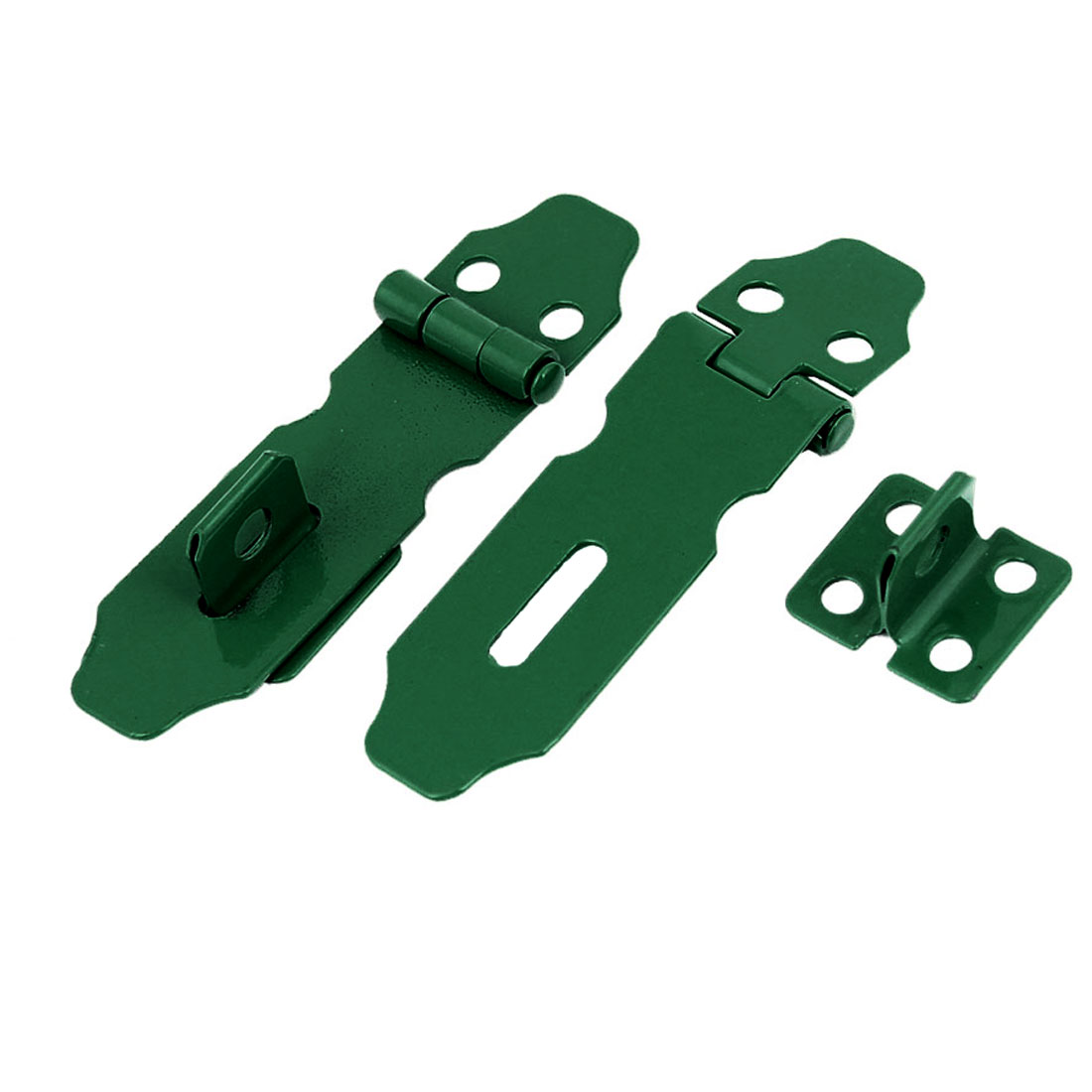 2 Pcs Home Cupboard Doors Green Metal Latch Hasp Staple Set