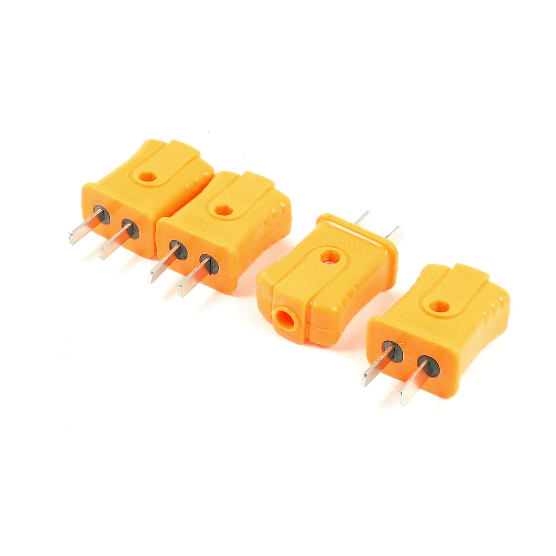 AC 250V 16A 7.2mm Dia Cord Hole 2 Flat Pin AU US Plug Power Adapter 4 Pcs