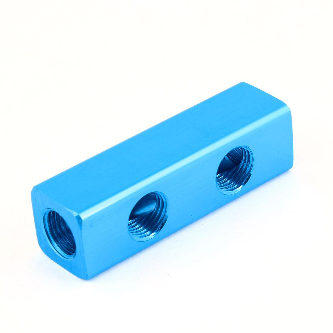 """Blue Aluminium Air Pneumatic 2 Way 5 Ports Manifold Block Splitter 1/4""""PT"""