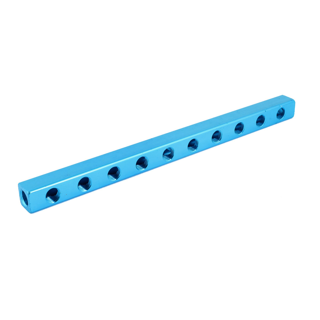 "Blue Aluminium Air Pneumatic 10 Way 13 Ports Manifold Block Splitter 1/4""PT"