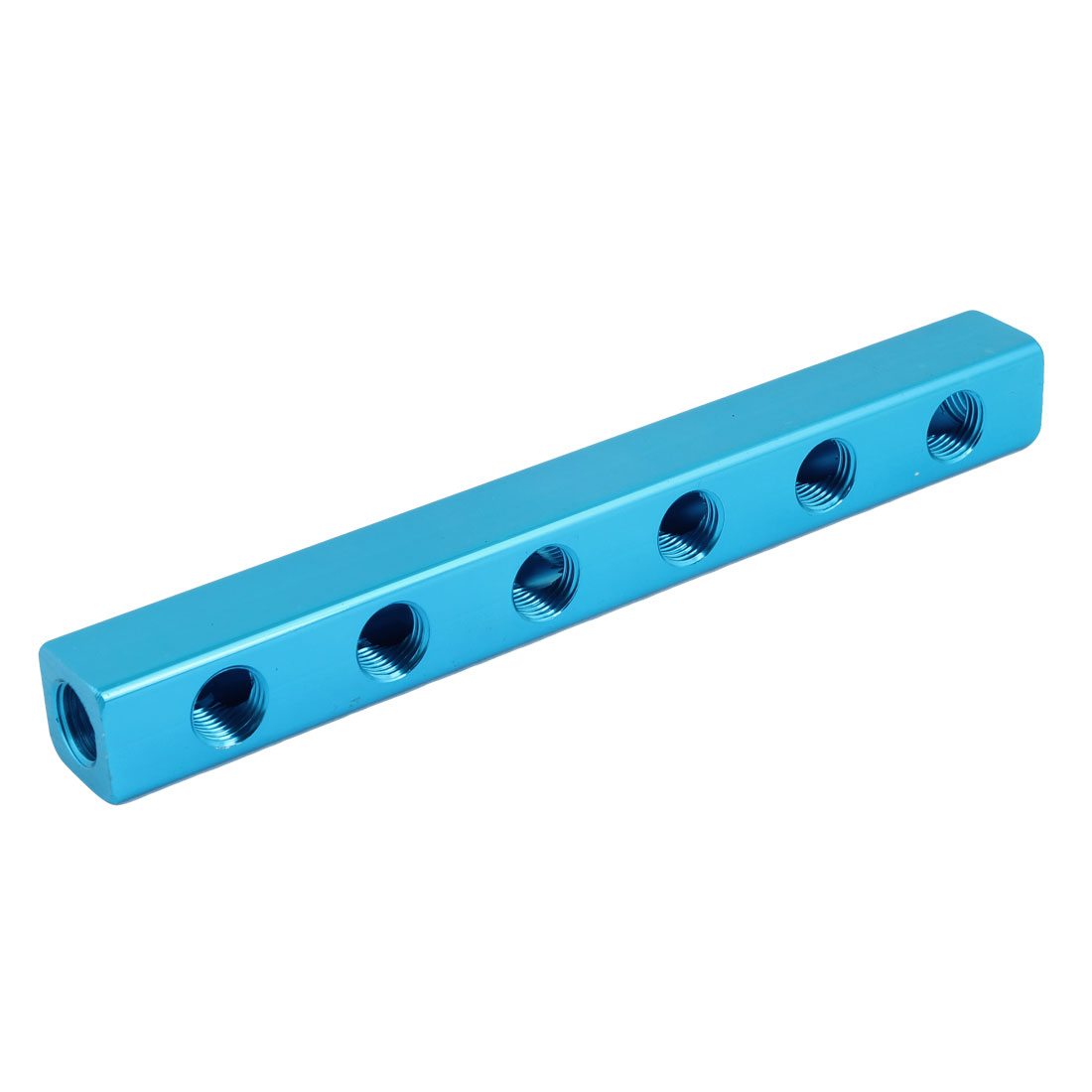 "Blue 1/4""PT 6 Way 9 Ports Air Pneumatic Cylinder Manifold Block Splitter"