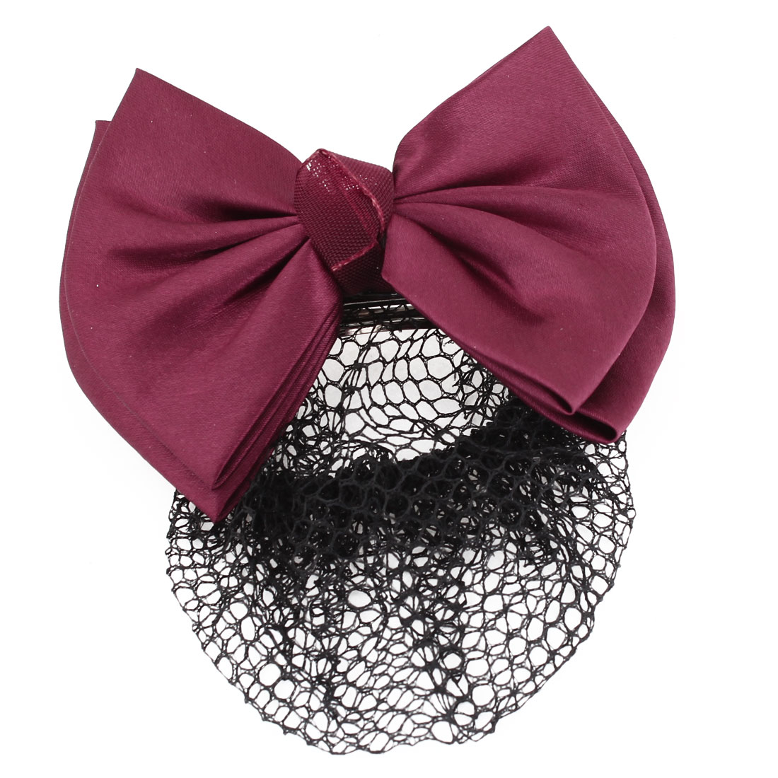 Lady Burgundy Headdress Bowtie Accent Elastic Band Hairclip Hairnet