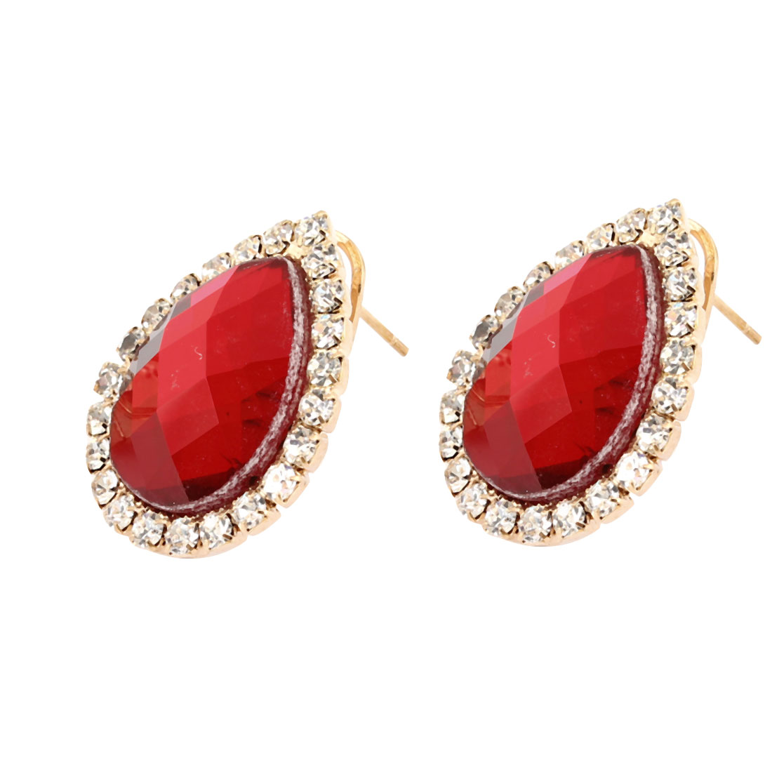 Waterdrop Design Faux Rhinestone Adorn French Clip Stud Earrings Red for Lady
