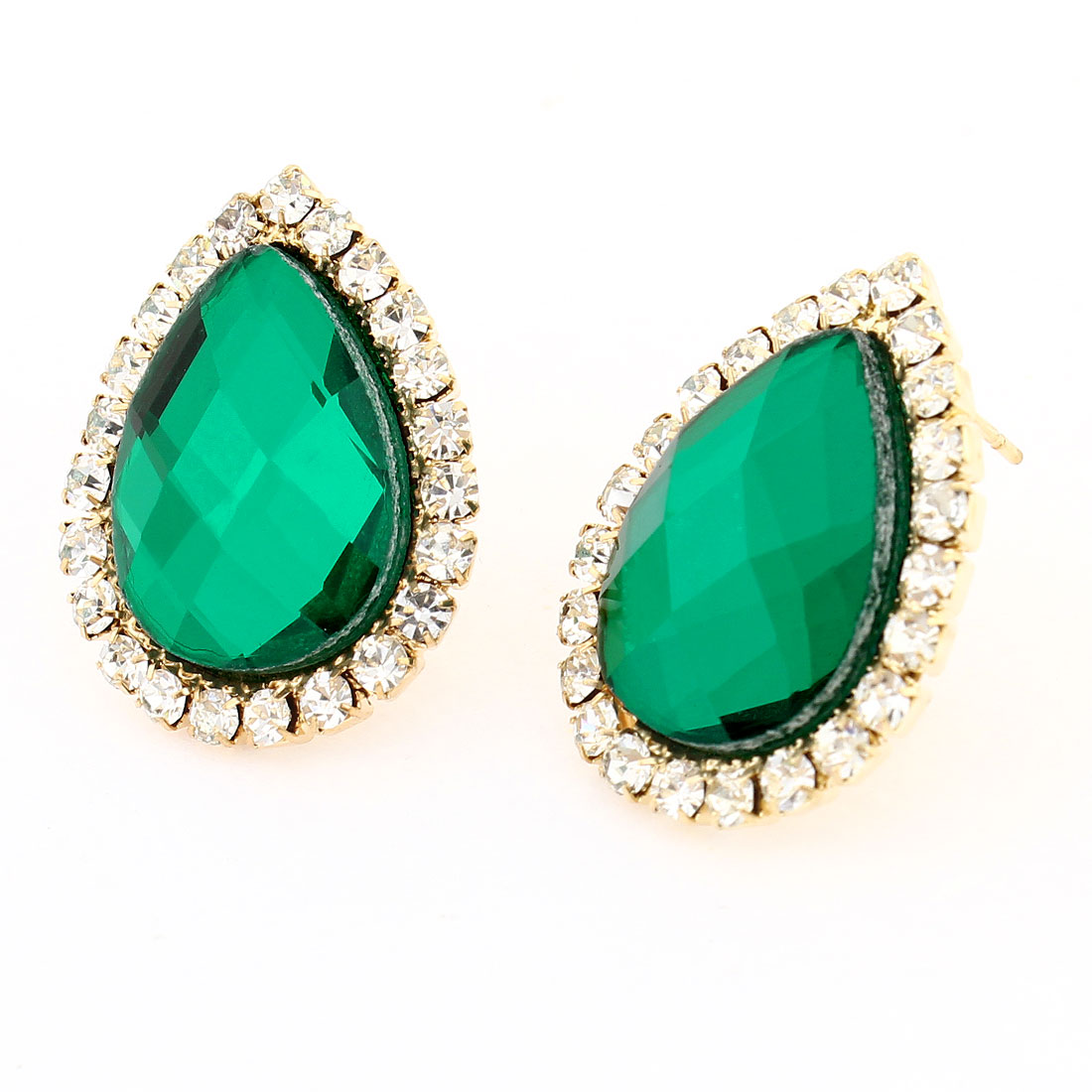 Green Faux Rhinestone Decor Waterdrop Shaped French Clip Stud Earrings x 2